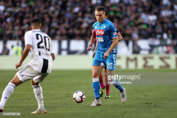 Piotr Zielinski of Ssc Napoli in action during the Serie A football match between Juventus Fc and Ssc Napoli. Juventus FC beat SSC Napoli 3-1.