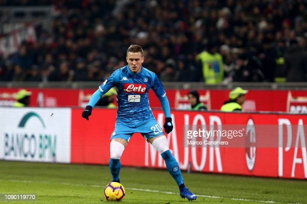 Piotr Zielinski of Ssc Napoli in action during the Serie A football match between Ac Milan and Ssc Napoli. The match end in a tie 0-0.