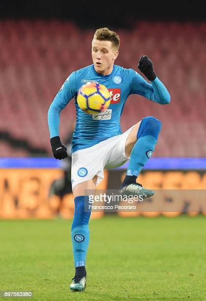 Piotr Zielinski of SSC Napoli in action during the TIM Cup match between SSC Napoli and Udinese Calcio at Stadio San Paolo on December 19 2017 in...