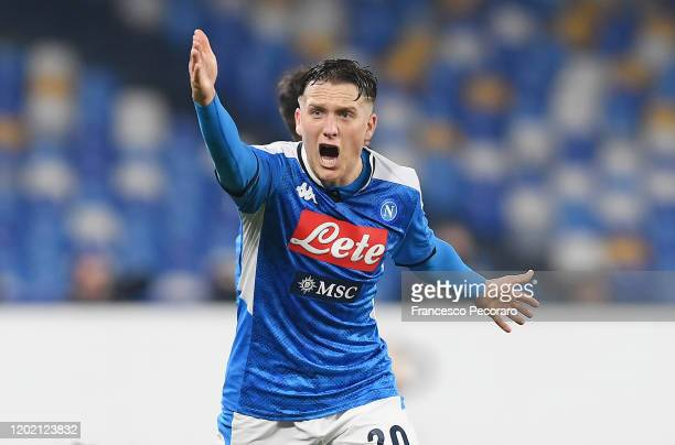 Piotr Zielinski of SSC Napoli protests during the Serie A match between SSC Napoli and Juventus at Stadio San Paolo on January 26, 2020 in Naples,...