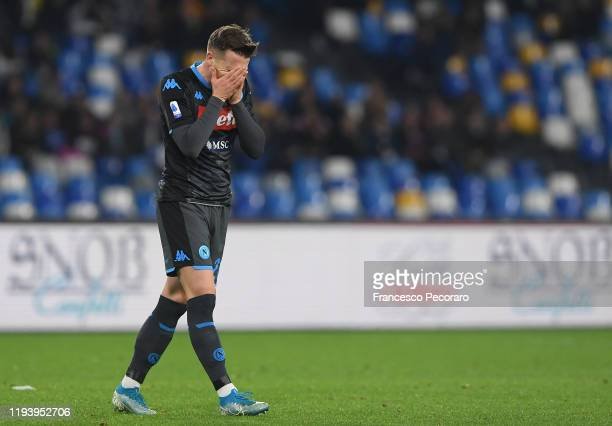 Piotr Zielinski of SSC Napoli reacts during the Serie A match between SSC Napoli and Parma Calcio at Stadio San Paolo on December 14 2019 in Naples...