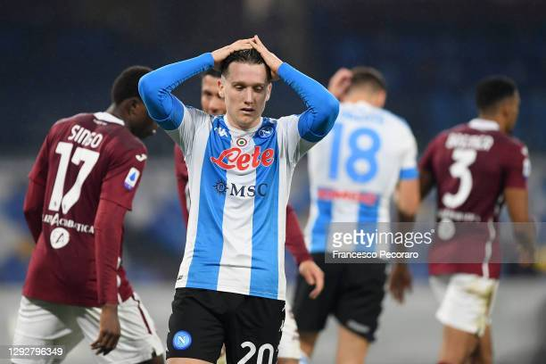 Piotr Zielinski of SSC Napoli reacts during the Serie A match between SSC Napoli and Torino FC at Stadio Diego Armando Maradona on December 23, 2020...