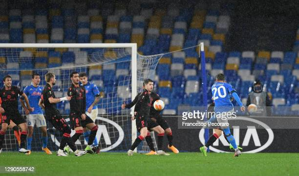 Piotr Zielinski of S.S.C. Napoli scores their team's first goal during the UEFA Europa League Group F stage match between SSC Napoli and Real...