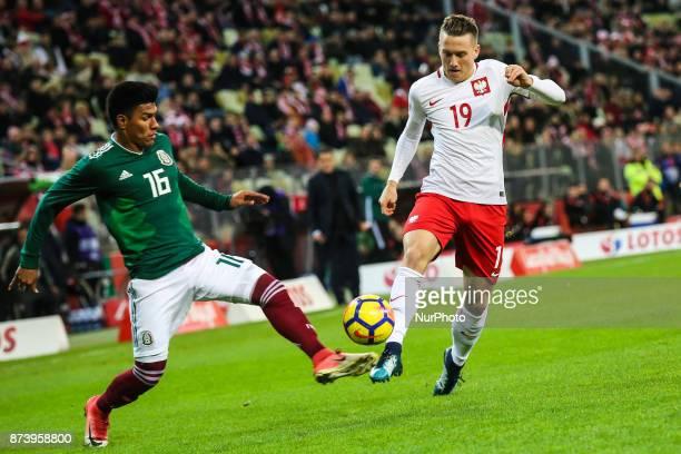 Piotr Zielinski vies Jesus Gallardo during the International Friendly match between Poland and Mexico at Energa Stadium in Gdansk Poland on November...