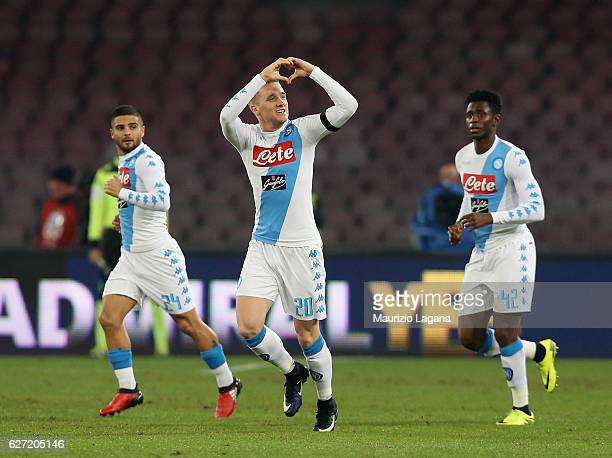 Piotr Zielinsky of Napoli celebrates his team's opening goal during the Serie A match between SSC Napoli and FC Internazionale at Stadio San Paolo on...