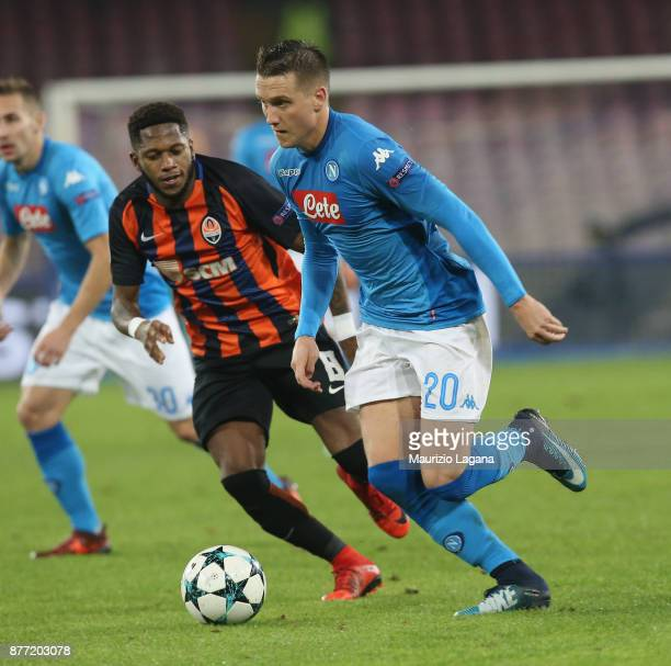 Piotr Zielinsky of Napoli competes for the ball with Fred of Shakhtar Donetsk during the UEFA Champions League group F match between SSC Napoli and...