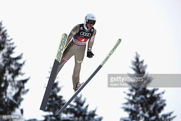 Piotr Zyla of Poland competes at the trail round on Day 2 of the 65th Four Hills Tournament ski jumping event at PaulAusserleitnerSchanze on January...