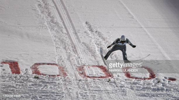 Piotr Zyla of Poland competes during the second round of the men's ski jumping large hill competition at the FIS World Cup Lahti Ski Games 2020 in...
