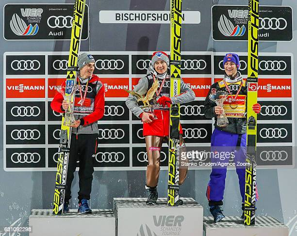 Piotr Zyla of Poland takes 2nd place in the overall standings Kamil Stoch of Poland takes 1st place Daniel Andre Tande of Norway takes 3rd place in...