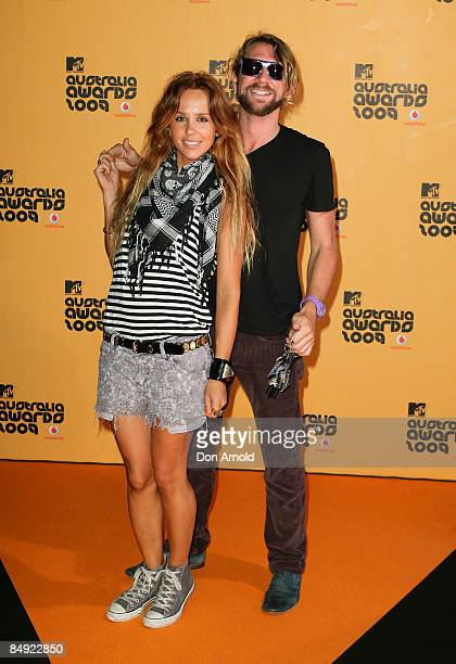 Pip Edwards and Damon Downey arrive for the announcement of the nominations for Vodafone MTV Australia Awards 2009 at the MTV Gallery on February 19...