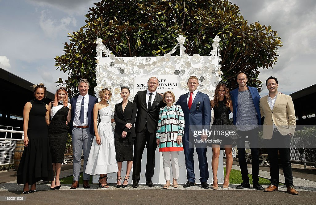 Pip Edwards, Carissa Walford, Luke Ricketson, Kate Waterhouse, Anna Bamford, Thomas Burgess, Gai Waterhouse, George Burgess, Jodi Anasta, Ryan Fitzgerald and Michael Wipfli pose during the 2015 Sydney Spring Carnival launch at Royal Randwick Racecourse on September 3, 2015 in Sydney, Australia. (Photo by Mark Metcalfe/Getty Images