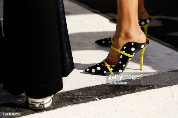 Pip Edwards, shoe detail, wearing Tenpieces and Gucci belt bag and at Mercedes-Benz Fashion Week Resort 20 Collections on May 16, 2019 in Sydney,...