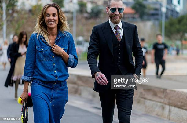 Pip Edwards wearing a navy denim jeans shirt and skirt and Justin O'Shea wearing a black suit and sunglasses outside Toni Maticevski at MercedesBenz...