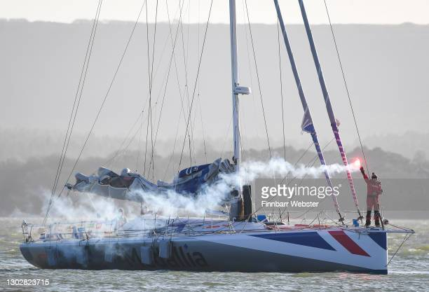 Pip Hare arrives at the quayside on February 18, 2021 in Poole, England. Pip Hare was the first British skipper to finish the 2020/21 Vendée Globe...