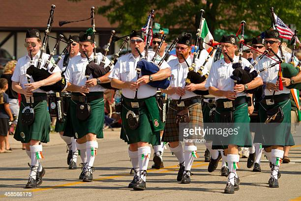 Pipe and Drum Corps Marching in Memorial Day Parade