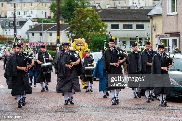 Pipe band performing in a parade