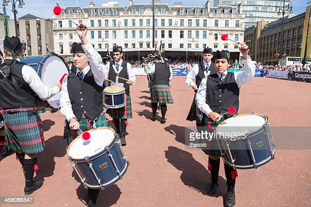 pipe band - george square stock photos and pictures