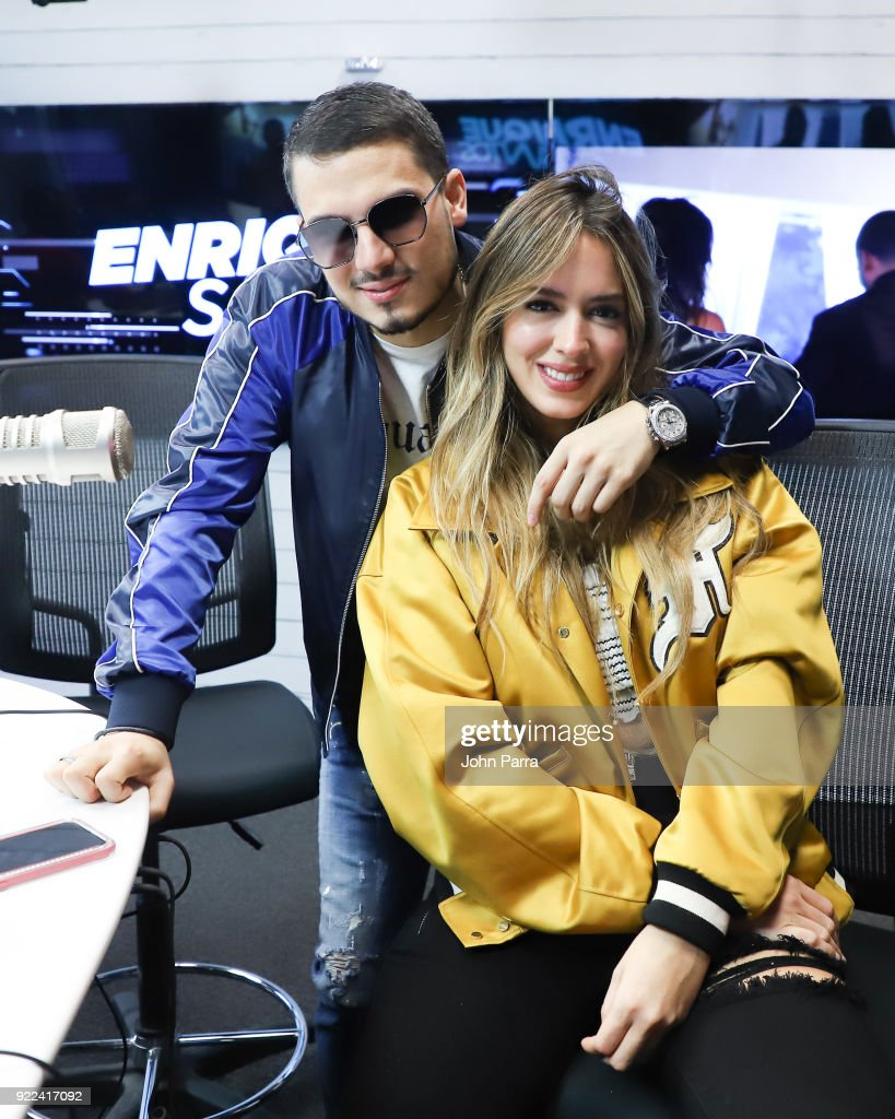 Pipe Bueno and Shannon De Lima visit The Enrique Santos Show At I Heart Latino Studio on February 21, 2018 in Miramar, Florida.