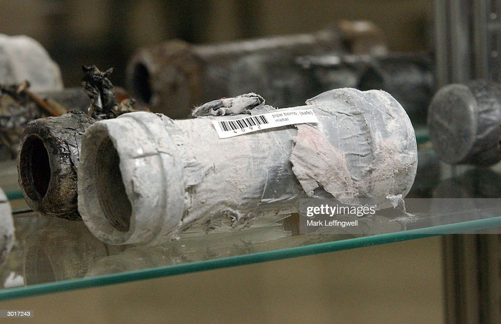 Pipe casings used for pipe bombs, which were never exploded, are shown on display at the Jefferson County Fairgrounds February 26, 2004 in Golden, Colorado. Columbine students Eric Harris and Dylan Klebold killed 13 people at Columbine High School April 20, 1999 in Littleton, Colorado in the worst school shooting in U.S. history.