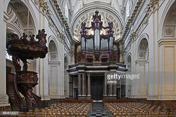 Pipe organ and pulpit of the St Aubin's Cathedral at Namur Belgium