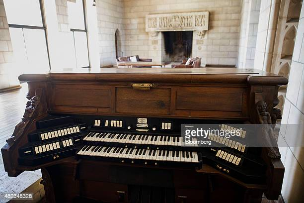 A pipe organ keyboard stands in the room that once housed a chapel at the former home of Sisters of the Most Holy and Immaculate Heart of the Blessed...