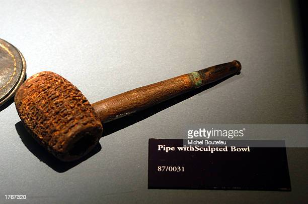 A pipe with sculpted bowl from the Titanic are on display at 'TITANIC The Artifact Exhibit' at the California Science Center on February 6 2003 in...