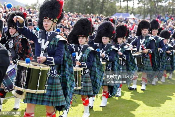 A piped band plays during the 2019 Braemar Highland Games at The Princess Royal and Duke of Fife Memorial Park on September 07 2019 in Braemar...