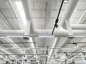 Pipeline and lighting above the ceiling of supermarket store