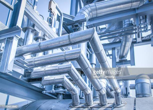 pipeline at industrial zone,pipe to silencer of heat recovery steam generator at power plant - transport stock pictures, royalty-free photos & images