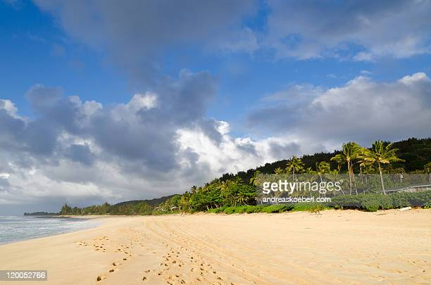 Pipeline Beach Hawaii with clouds in evening light