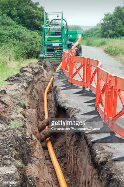 A pipeline being laid in Barrow in Furness Cumbria UK