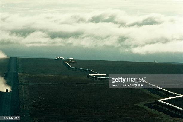 Pipeline in Alaska United States Arctic landscape near Prudhoe Bay the Transalaskan oil pipeline