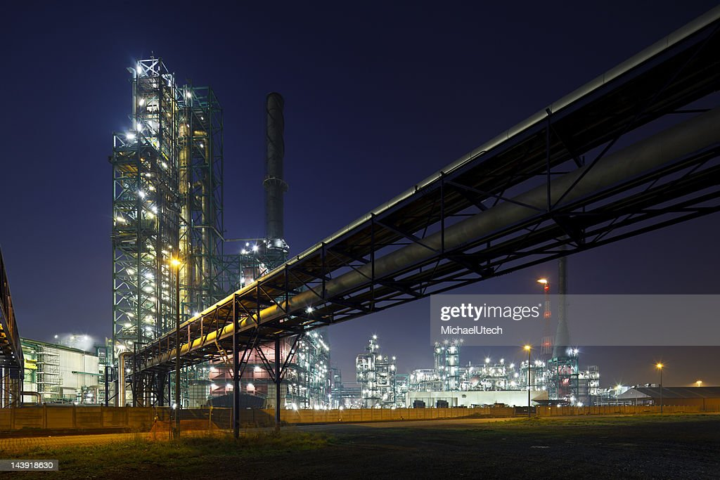 Pipelines And Refinery At Night : Stock Photo