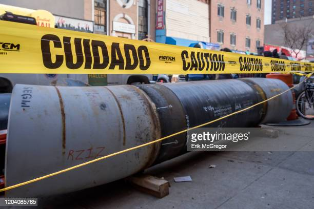 Pipelines stored on the side of the street. 10 people from the climate activist group Extinction Rebellion NYC were arrested in Bushwick for blocking...