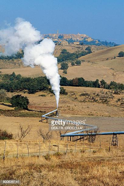 Pipelines used to produce electricity from geysers near Larderello Tuscany Italy