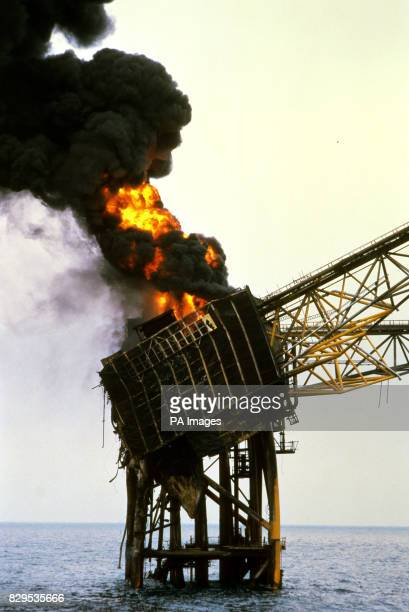 Piper Alpha oil rig on fire off the coast of Aberdeen in the North Sea