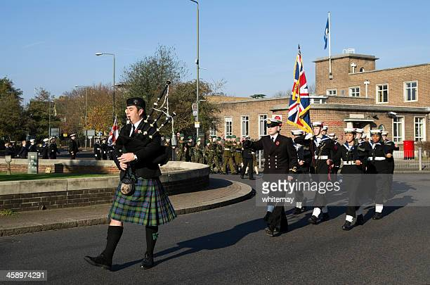 piper and cadets marching on remembrance sunday - beckenham stock pictures, royalty-free photos & images