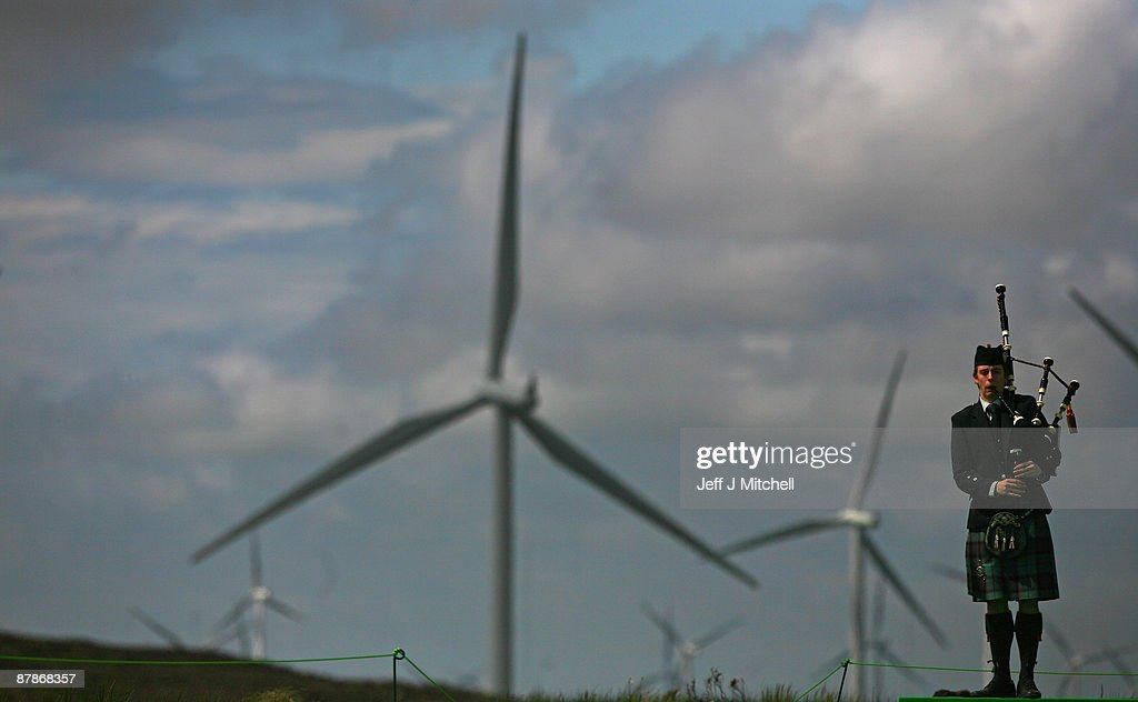 Piper David Wilton plays at the switch on of Whitelee, Europe's largest onshore wind farm, as it officially opens on May 20, 2009 in Eaglesham, Scotland. The Whitelee wind farm will power 180,000 homes and has plans granted by the Scottish Government to power a further 70,000.