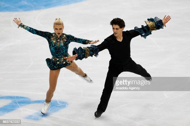 Piper Gilles and Paul Poirier and Canadian perform during the Ice Dance Short Dance event on the first day of the ISU GP Rostelecom Cup 2017 at the...