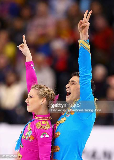 Piper Gilles and Paul Poirier of Canada compete during Day 3 of the ISU World Figure Skating Championships 2016 at TD Garden on March 30, 2016 in...