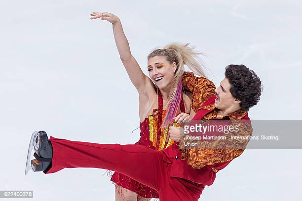 Piper Gilles and Paul Poirier of Canada compete during Ice Dance Short Dance on day one of the Trophee de France ISU Grand Prix of Figure Skating at...