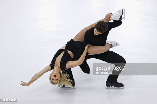 Piper Gilles and Paul Poirier of Canada compete in the Ice Dance Free Dance during day three of 2017 Bridgestone Skate America at Herb Brooks Arena...