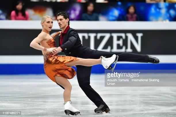 Piper Gilles and Paul Poirier of Canada compete in the Ice Dance Rhythm Dance on day three of the 2019 ISU World Figure Skating Championships at...
