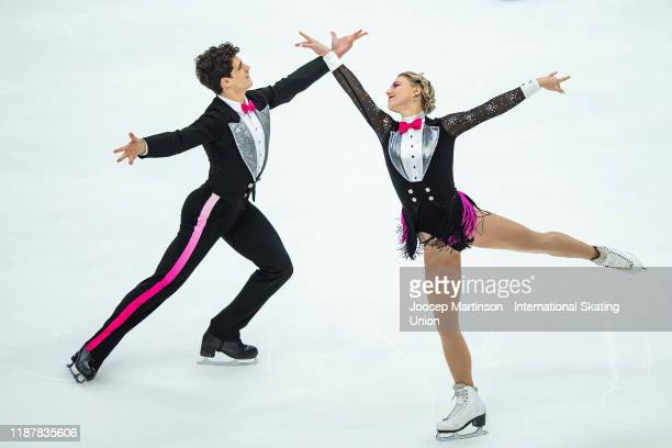 Piper Gilles and Paul Poirier of Canada compete in the Ice Dance Rhythm Dance during day 1 of the ISU Grand Prix of Figure Skating Rostelecom Cup at...