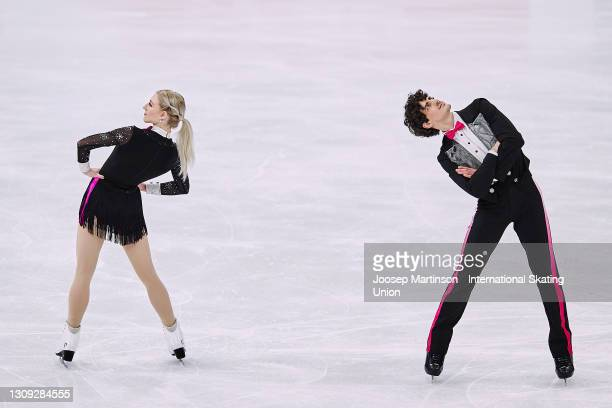 Piper Gilles and Paul Poirier of Canada compete in the Ice Dance Rhythm Dance during day three of the ISU World Figure Skating Championships at...