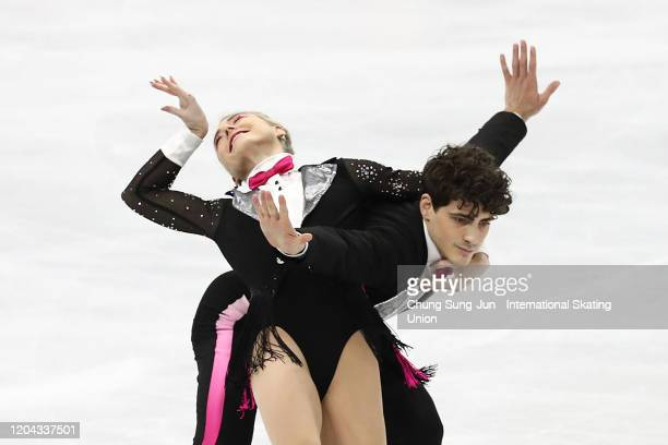 Piper Gilles and Paul Poirier of Canada perform during the Ice Dance Rhythm Dance segment of the ISU Four Continents Figure Skating Championships at...
