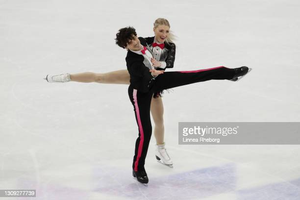 Piper Gilles and Paul Poirier of Canada perform in Ice Dance Rhythm Dance during day three of the ISU World Figure Skating Championships at Ericsson...