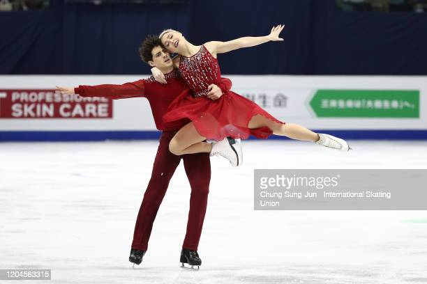Piper Gilles and Paul Poirier of Canada perform in the Ice Dance Free during the ISU Four Continents Figure Skating Championships at Mokdong Ice Rink...