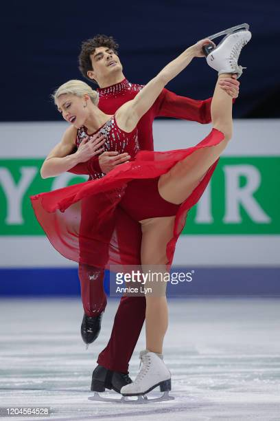 Piper Gilles and Paul Poirier of Canada perform in the Ice Dance Free Dance during day 2 of the ISU Four Continents Figure Skating Championships at...