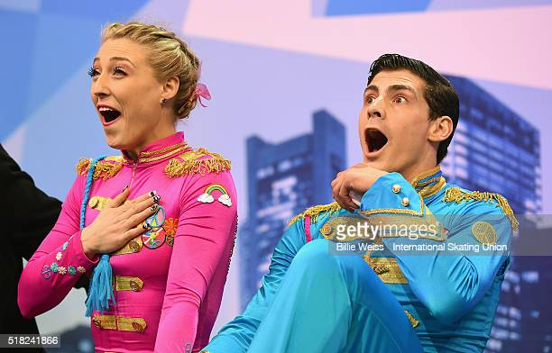 Piper Gilles and Paul Poirier of Canada react after competing during Day 3 of the ISU World Figure Skating Championships 2016 at TD Garden on March...